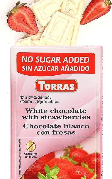 Amazon.com : Torras Sugar Free and Gluten Free White Chocolate Bar - Strawberries (4 Pack) : Grocery & Gourmet Food