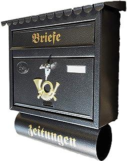 Briefkasten Wandbriefkasten Postkasten Postbox mit Zeitungsfach Posthorn Silber