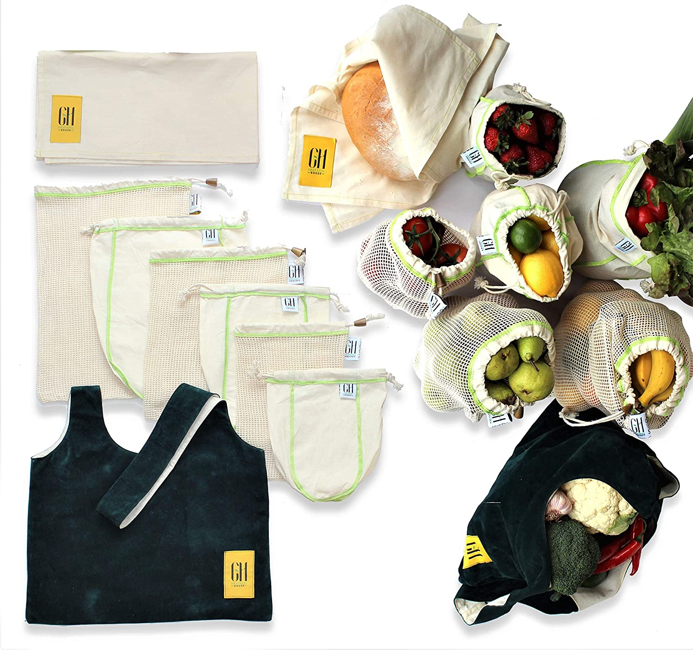 激安商品 Grateful House 再利用可能製品バッグ 8個 オーガニックコットン認証 B07GWDPCNM。! House 漂白剤は使用しないでください。 耐久性あり。 生産 & 大量の食品のニーズを満たす基準を満たしています。! B07GWDPCNM, FrouFrou:35c1d135 --- by.specpricep.ru