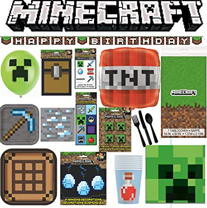 MINECRAFT LARGE Square PAPER PLATES 8 ~ Birthday Party Supplies Dinner Lunch