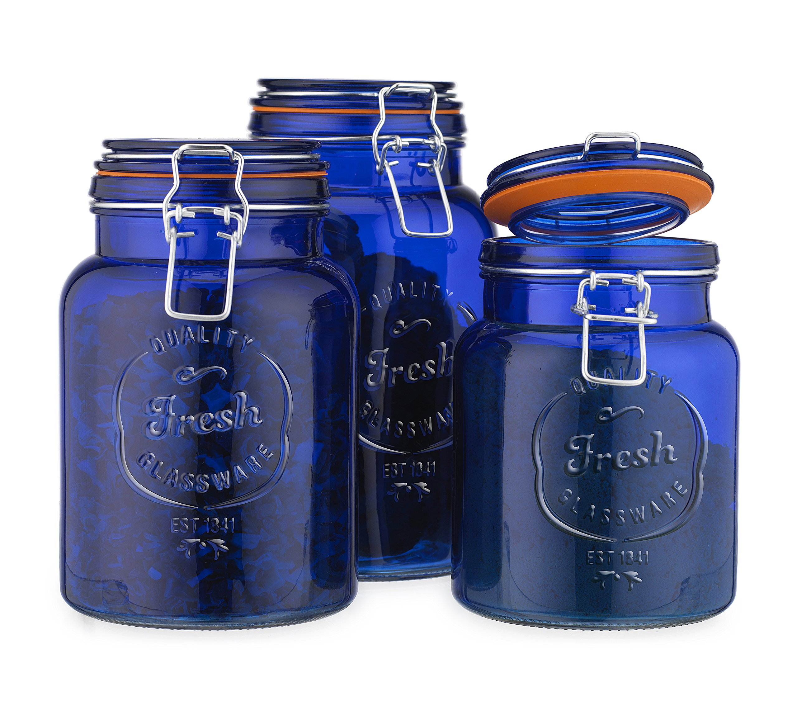Glass Canister Fresh Set of 3 Blue Round Jar with Hermetic Seal Bail & Trigger Airtight Lock for Kitchen - Food Storage Containers by HC