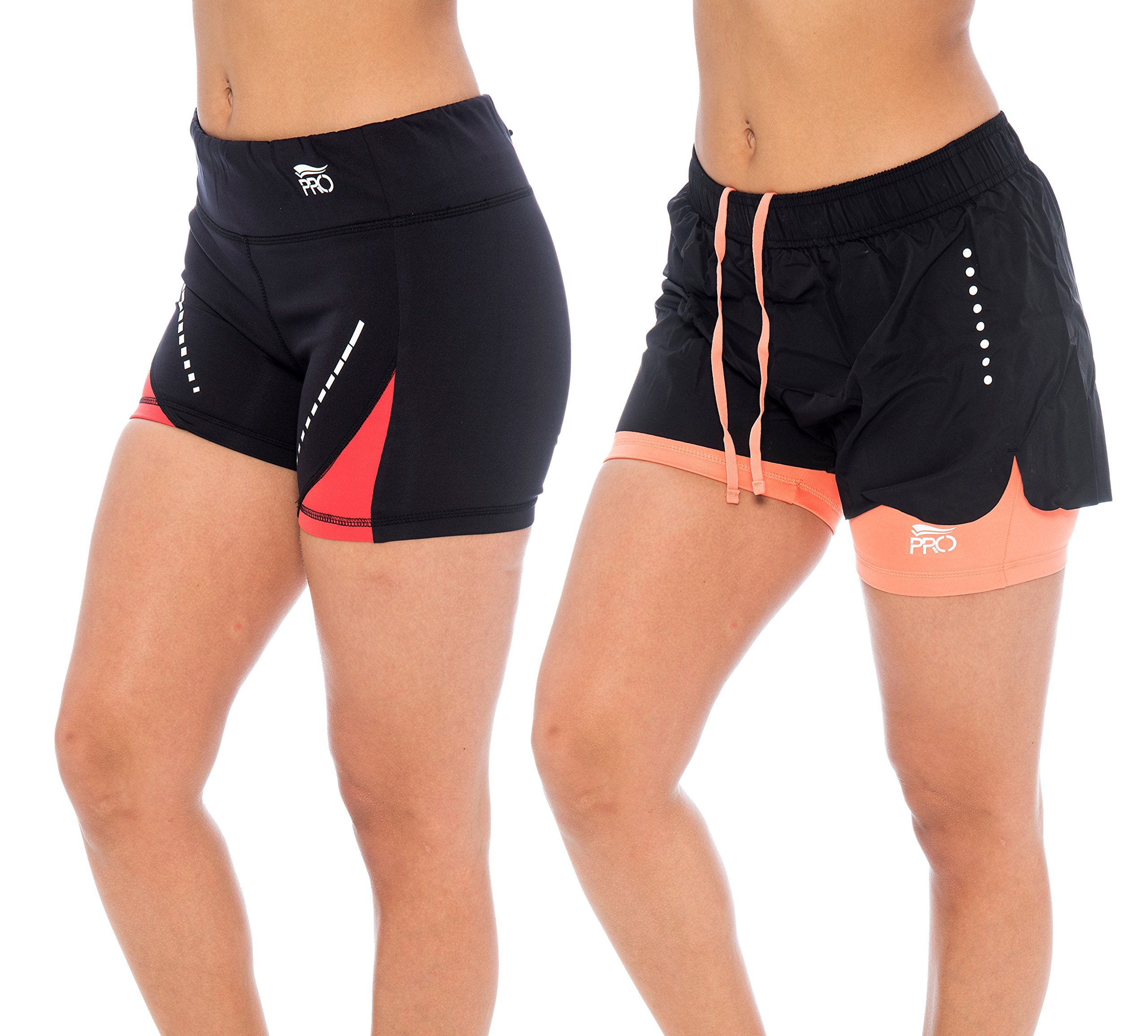 Unique Styles Women's Athletic Shorts Performance Wear Dri-fit Core Running - Assorted Colors (Medium, 2 Pack Black/Coral)