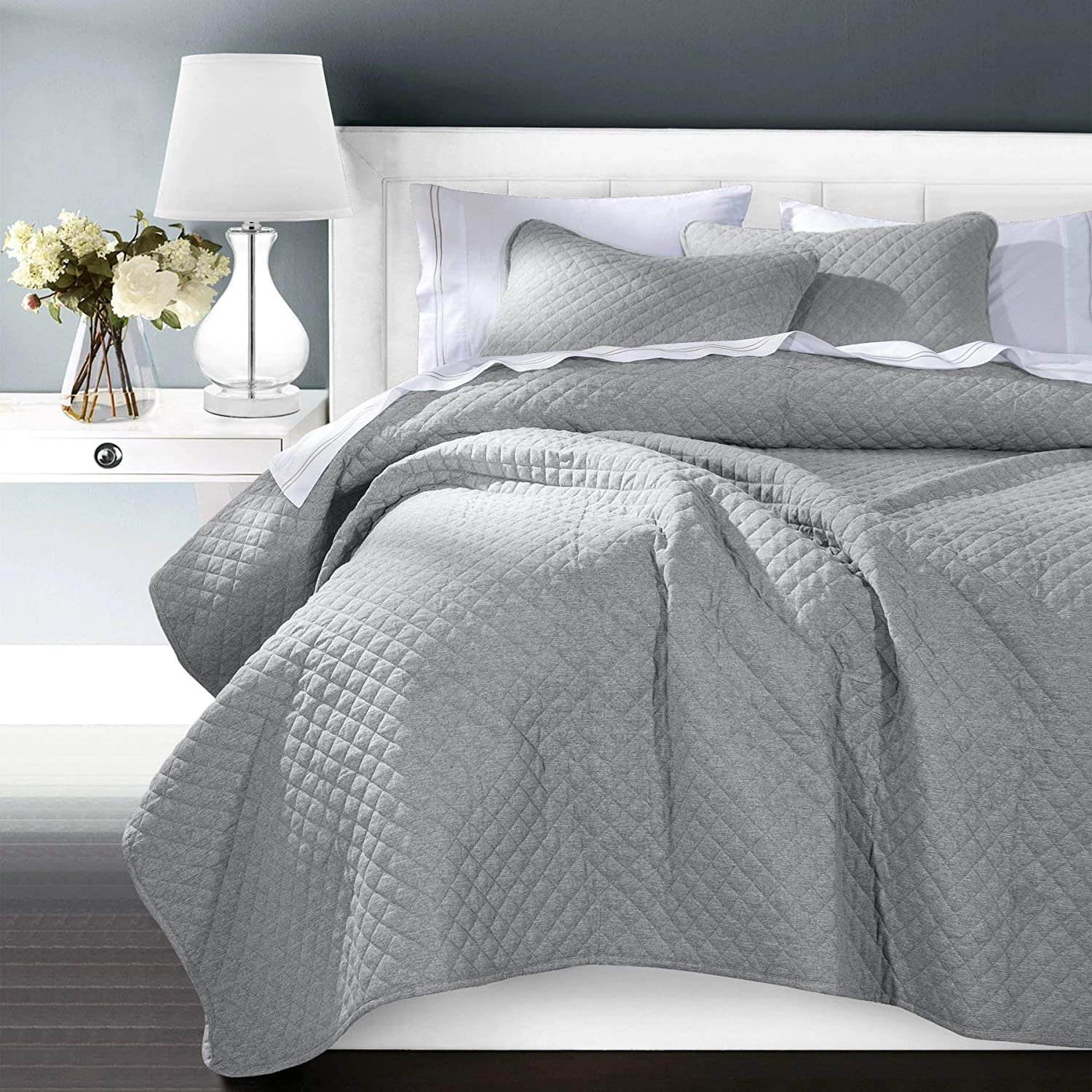 HiEnd Accents Anna Diamond Quilted (Soft Gray) Coverlet & Sham Bedding Set, Full/Queen