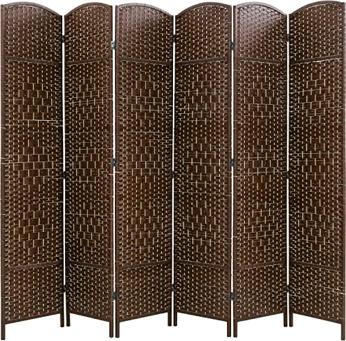 Vnewone Room Divider 6 ft. Tall Diamond Weave Fiber Privacy Screen Folding Room Divider for Living Room Bedroom Brown 6 Panel