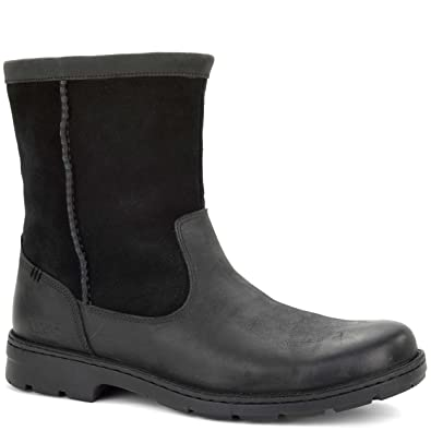 UGG Men's Foerster Black Leather Boot 8 3E - Extra Wide