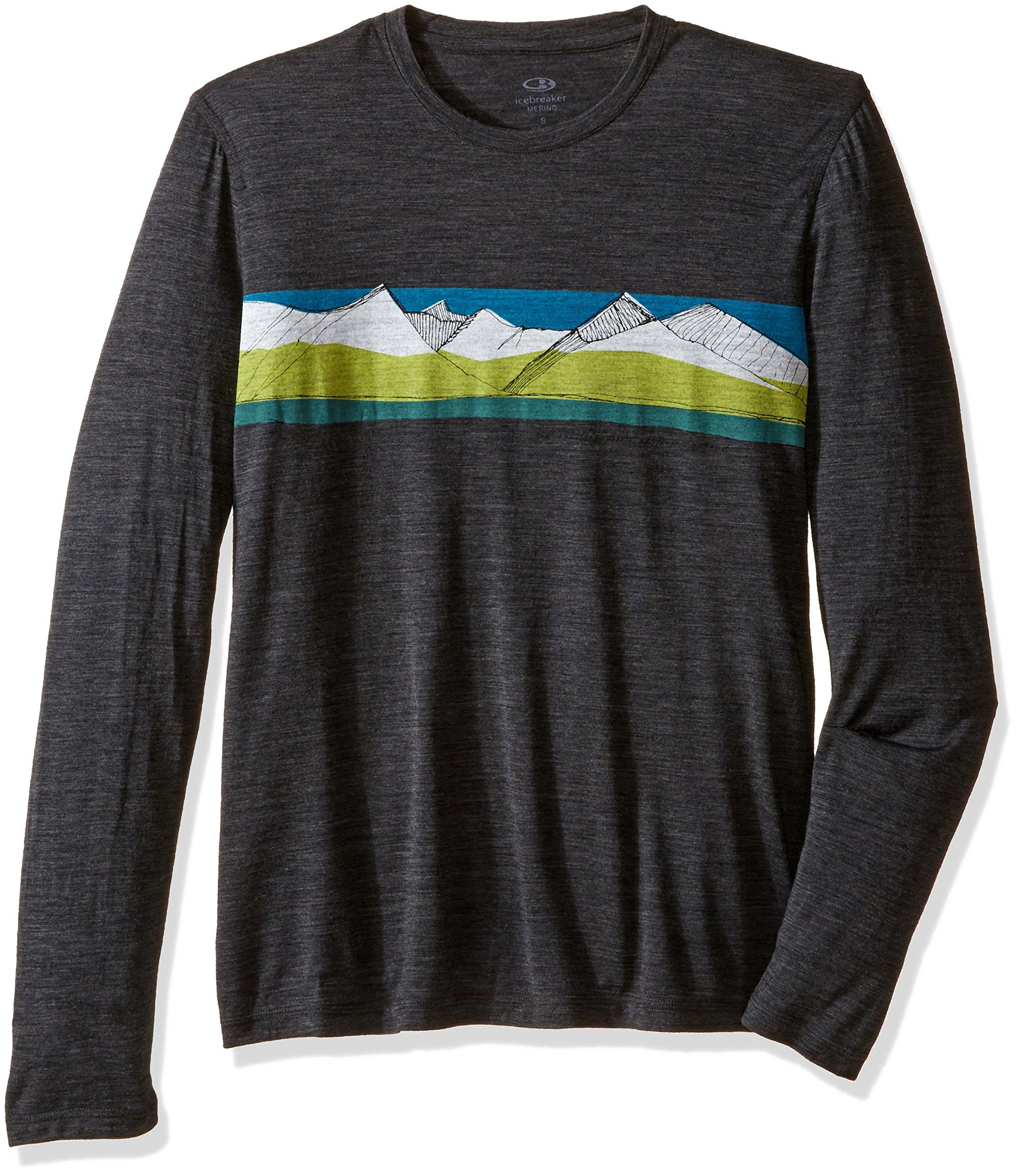 Icebreaker Merino Men's Tech Lite Long Sleeve South Alps Graphic Crewe T-Shirt, Jet Heather/Alpine, X-Large