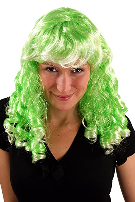 Party/Fancy WIG ME UP - Peluca VERDE, Cosplay, flequillo, rizos en