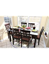 7 pc espresso brown 6 person table and chairs brown dining dinette espresso brown and