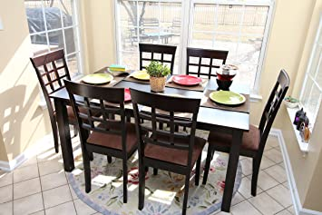 7 Pc Espresso Brown 6 Person Table And Chairs Dining Dinette