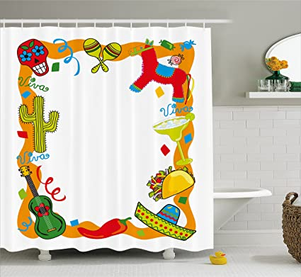 Ambesonne Fiesta Shower Curtain Cartoon Drawing Style Mexican Pinata Taco Chili Pepper Sugar Skull Pattern