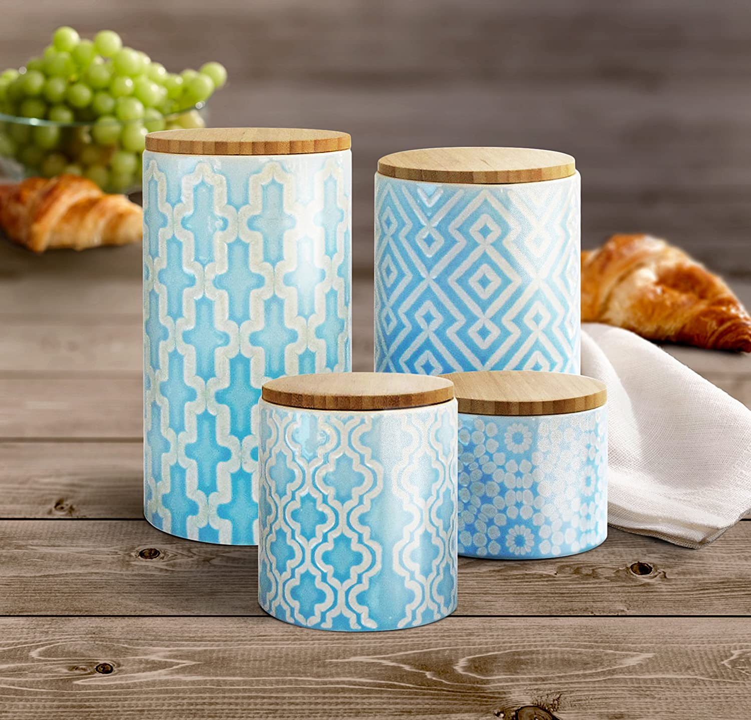 Amazon.com: American Atelier Pirouette 4 Piece Canister Set, Blue ...