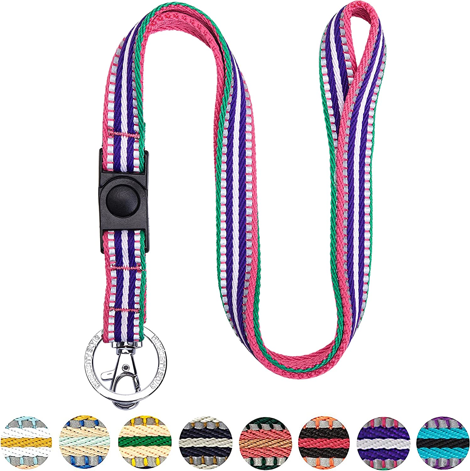 Orchid and Lavender Blueberry Pet 3M Reflective Multi-Colored Stripe Dog Collar Neck 12-16 Small Adjustable Collars for Dogs
