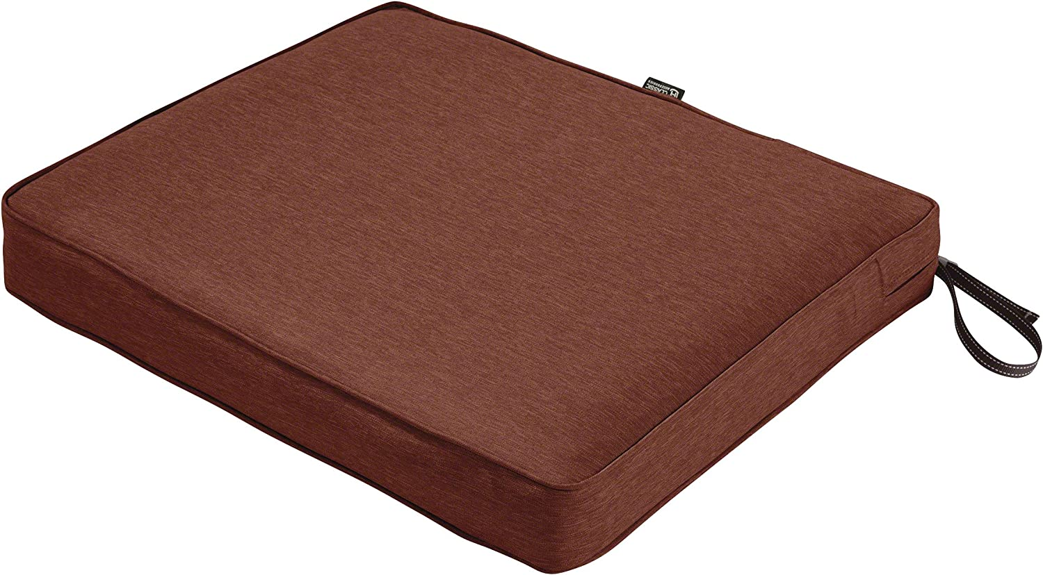 Classic Accessories Montlake Water-Resistant 21 x 19 x 3 Inch Rectangle Outdoor Seat Cushion, Patio Furniture Chair Cushion, Heather Henna Red