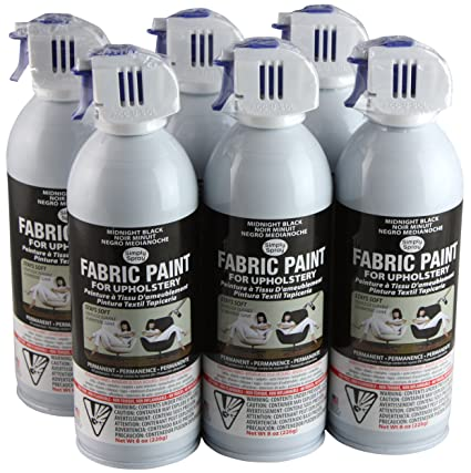 Amazon.com: Black Simply Spray Fabric Paint for Upholstery 6 Pack with Free 4 Page Instruction Booklet