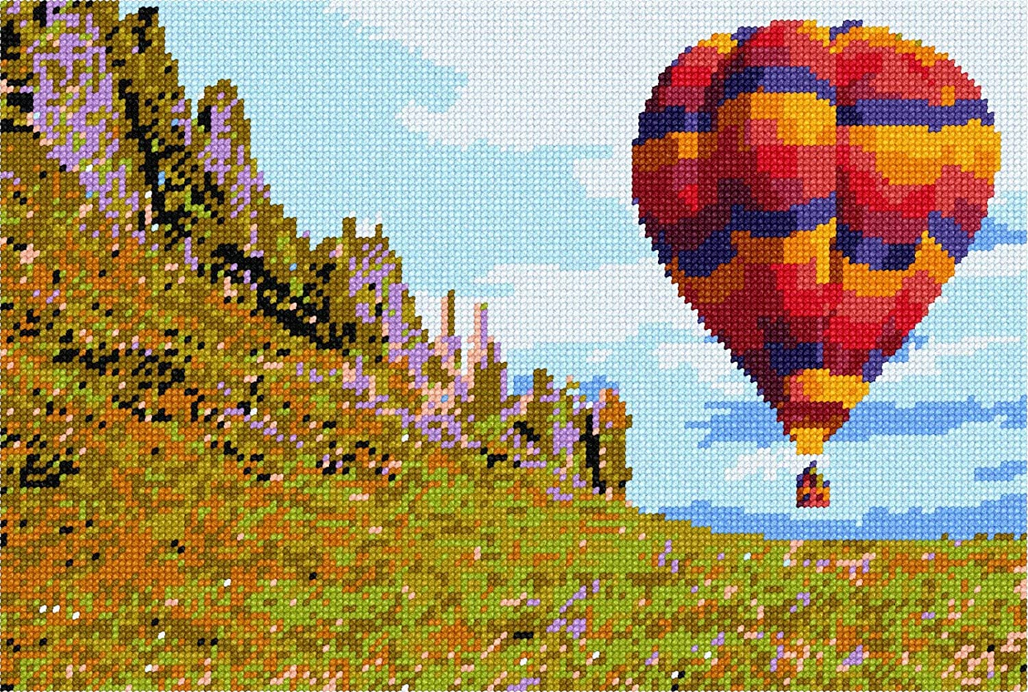 pepita Hot Air Balloon Over Valley Needlepoint Kit Large