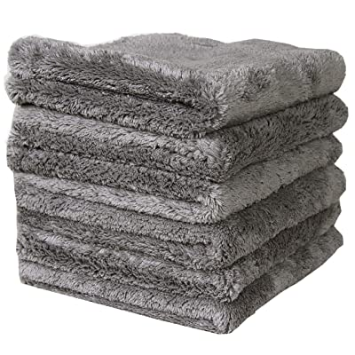 LANTEENSHOW Microfiber Cleaning Cloths 450gsm 16 ×16 in,Pack of 6 Grey: Automotive
