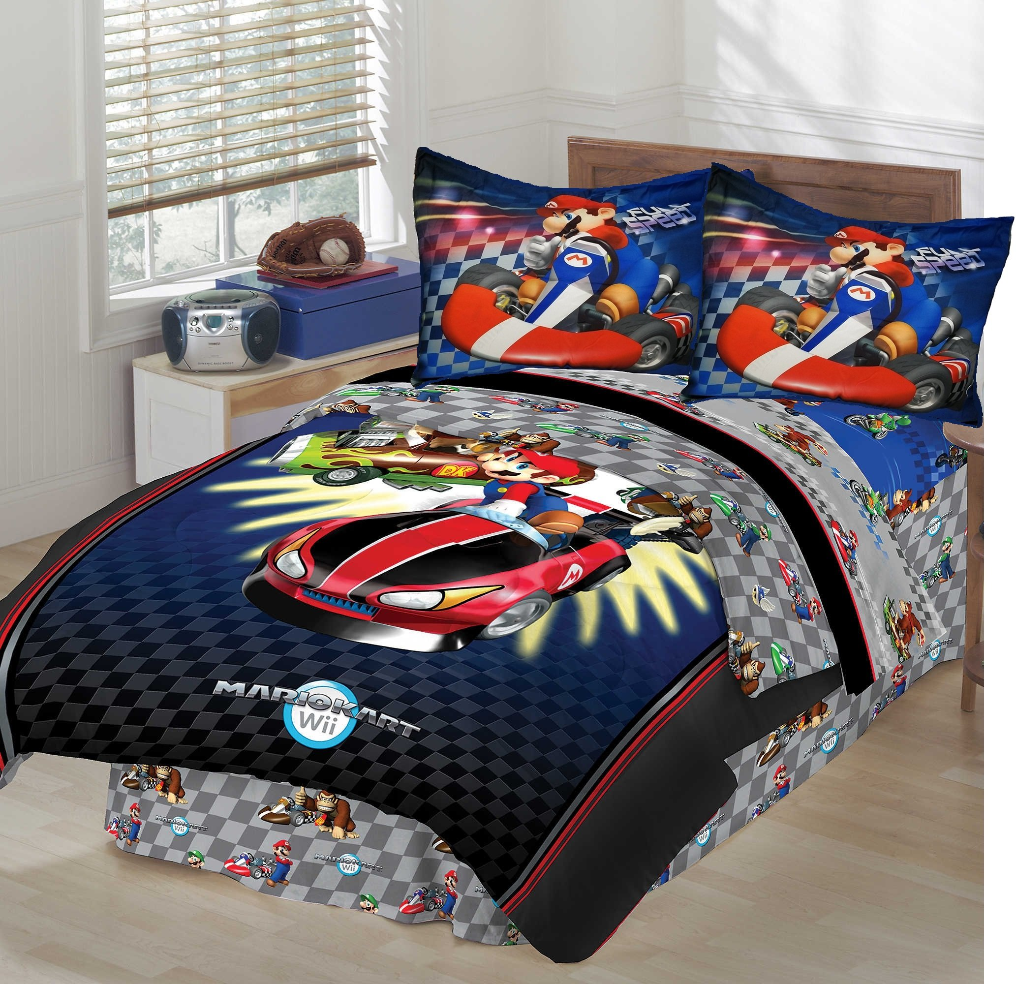 SUPER MARIO BROTHERS MARIO KART FULL SIZE Comforter Set + 34pc WALL DECALS
