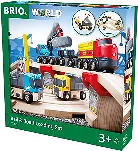 Brio 33210 Rail & Road Loading Set, 32 Pieces Train Set