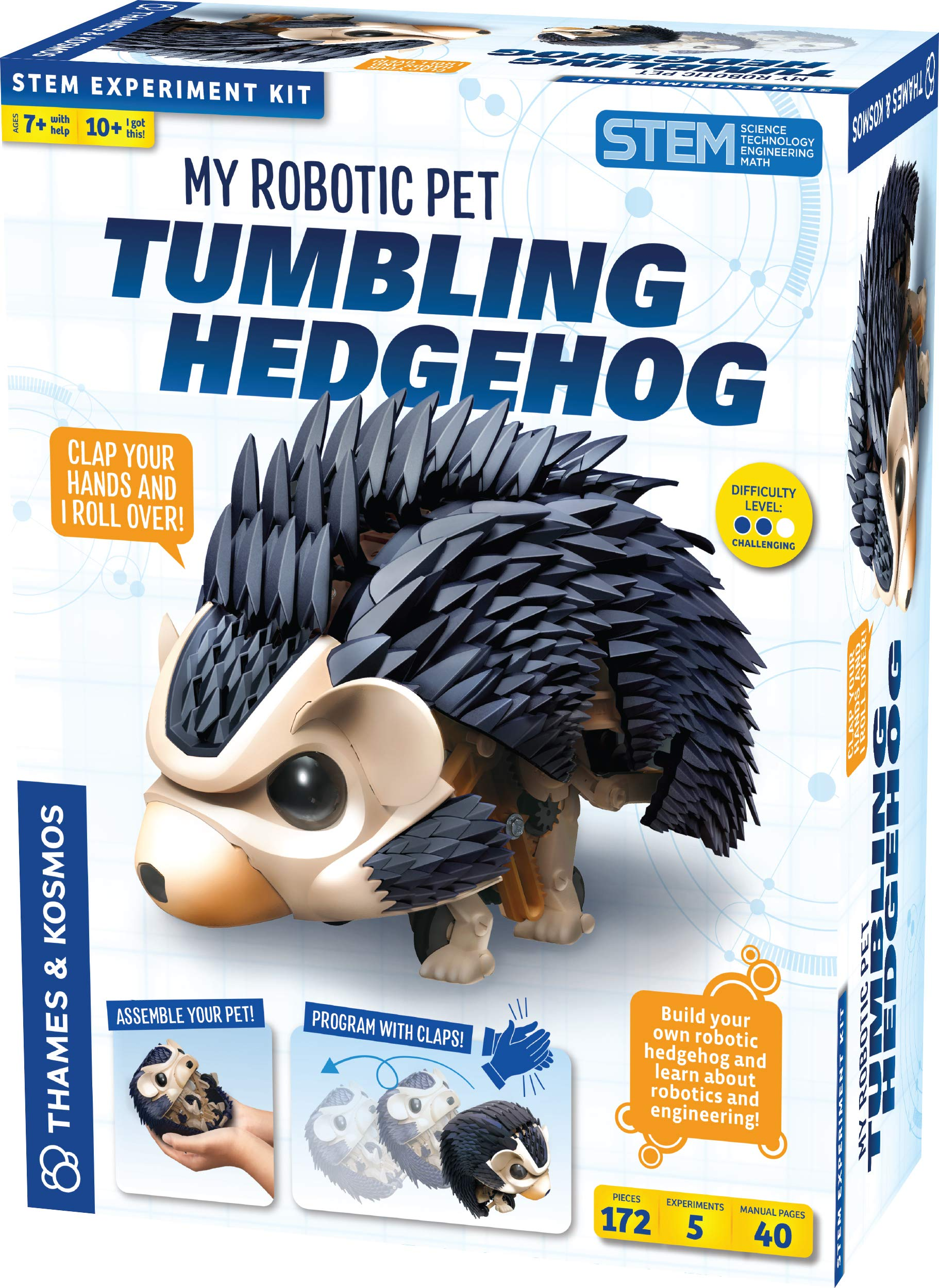 Thames & Kosmos My Robotic Pet - Tumbling Hedgehog Science Experiment & Model Building Kit, Build Your Own Sound Activated Tumbling, Rolling, Scurrying Pet Hedgehog by Thames & Kosmos