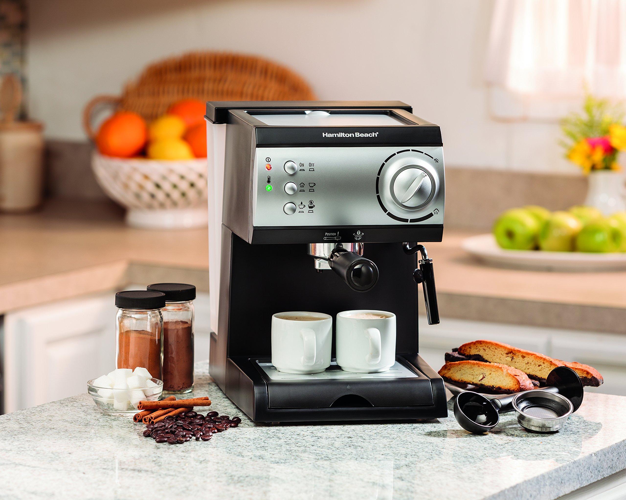 Hamilton Beach Espresso Machine with Steamer - Cappuccino, Mocha, Latte Maker (40715) by Hamilton Beach (Image #5)
