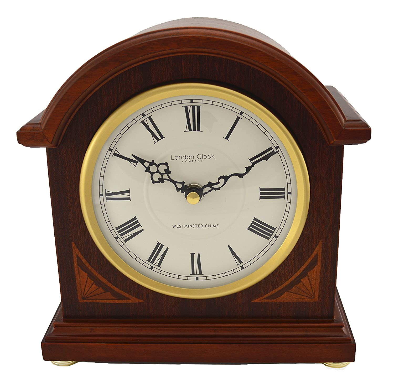 London Clock - 07029 - Break Arch Mahogany Wood Finish Mantel Clock Carters of London