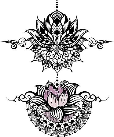 Amazon Com Pretty Henna Lotus Pair Design Vinyl Decal Sticker 12