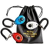 Hunde Trainings-Clicker mit Armband (3Stück) | 3praktische Beutel | 1Beutel für Hundeleckerlis | Trainingsanleitung von Sporteeno (evtl. nicht in deutscher Sprache)