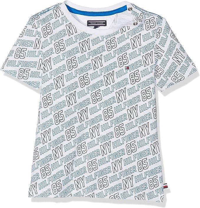 Tommy Hilfiger All-Over Print CN tee S/S Camiseta, Blanco (Bright White 123), 3 years (Tamaño del fabricante:3) para Niños: Amazon.es: Ropa y accesorios