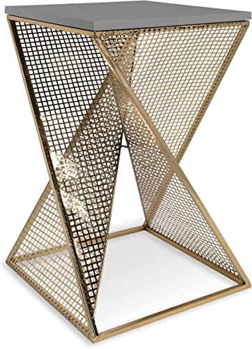 Kate and Laurel Elita Gray Wood and Metal Accent Side Table
