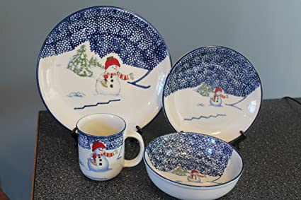 16 Piece (4 place setting) Thomson Pottery Snowman Dinnerware-Dinner PlateSalad & Amazon.com | 16 Piece (4 place setting) Thomson Pottery Snowman ...