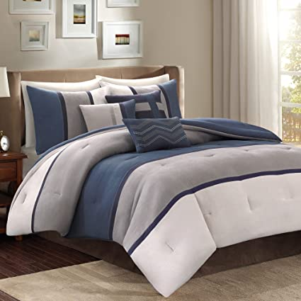 Amazon Com 7 Piece Navy Blue Grey Striped Comforter King Set Blue