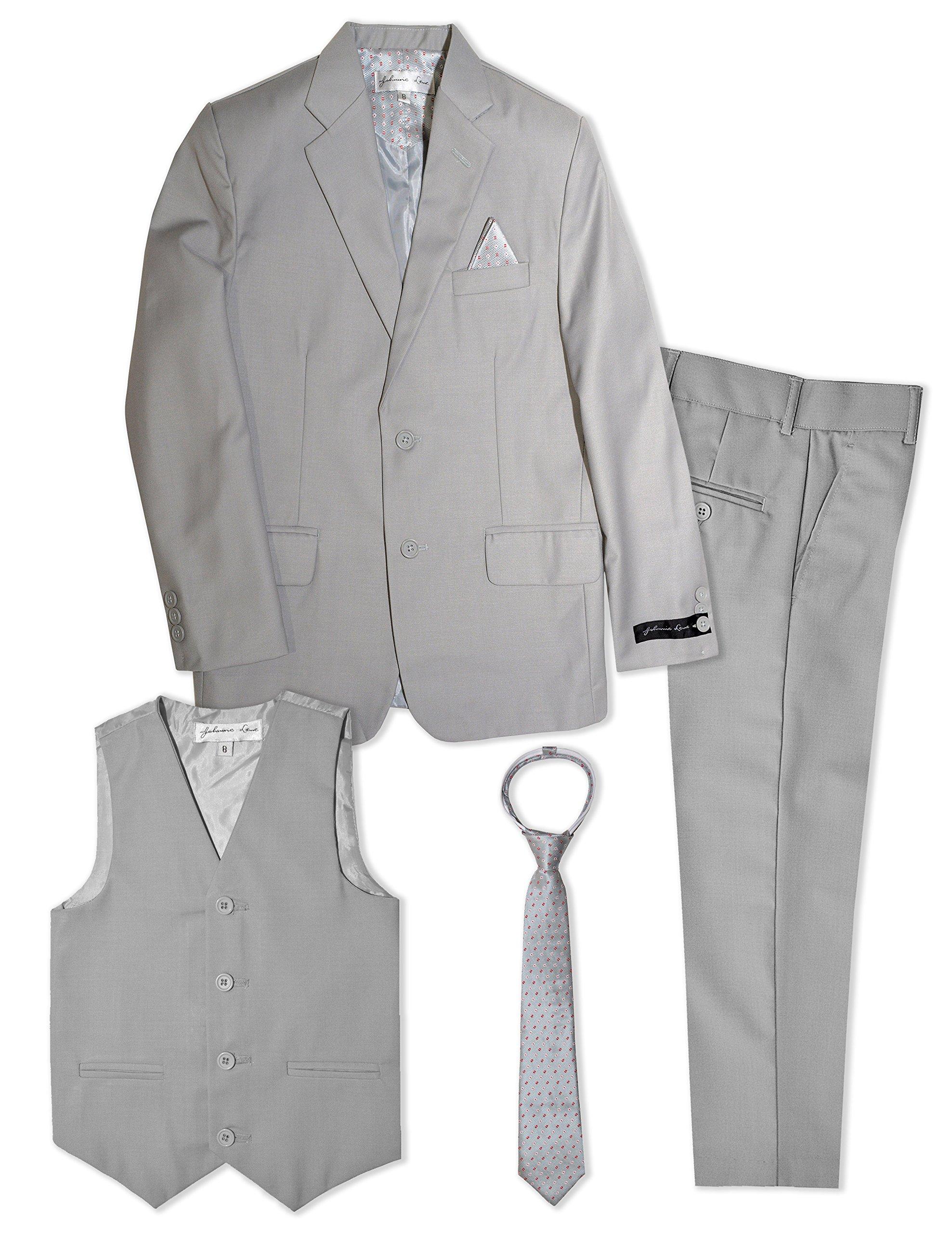 Boys Formal Dresswear Suit Set #JL48 (3T, Silver)