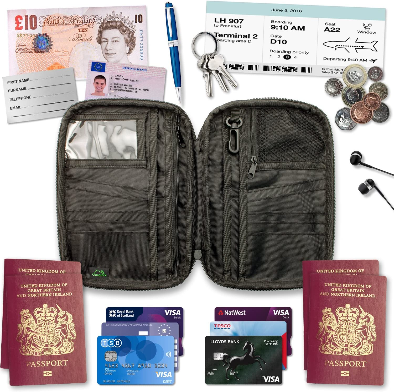 Porte-passeport étui portefeuille voyage carte du monde id ticket receipt organisateur