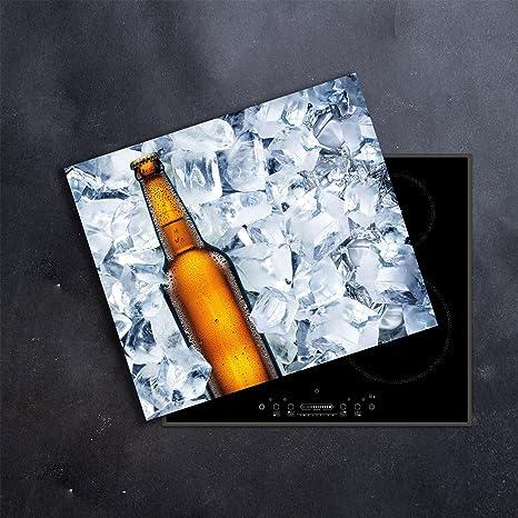 Tabla protectora de encimera, de cerámica, 60 x 52 cm, de gran tama?o, de cristal templado, para cortar, se puede colocar en la pared para evitar ...