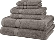 Pinzon 6 Piece Blended Egyptian Cotton Bath Towel Set - Grey