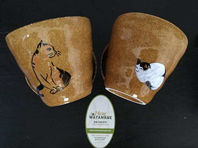 Japanese Cats Cup Hand Painted Glazed Tea Sake Unique Cat Gift