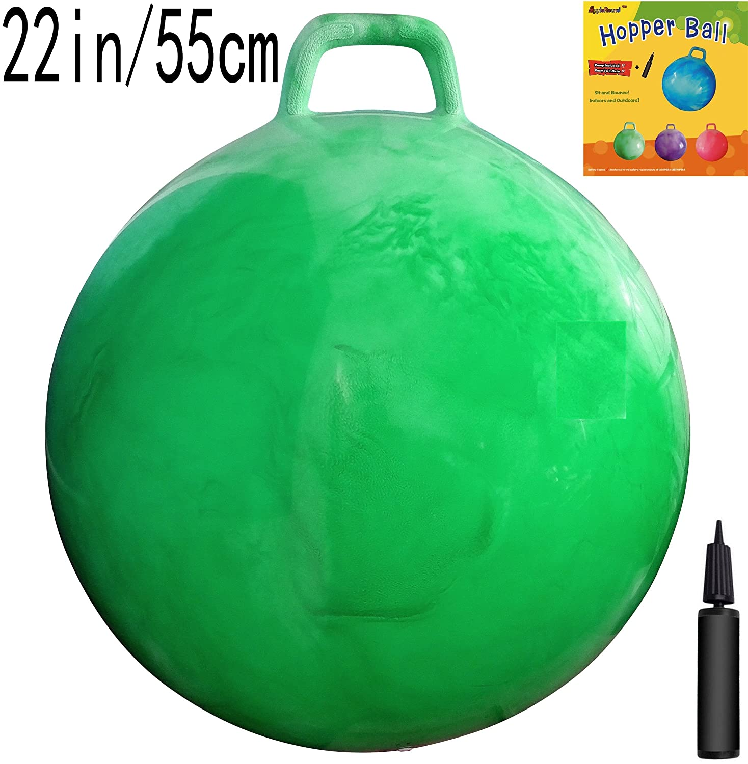Space Hopper Ball with Air Pump: 22in/55cm Diameter for Ages 10-12, Hop Ball, Kangaroo Bouncer, Hoppity Hop, Jumping Ball, Sit  Bounce by AppleRound