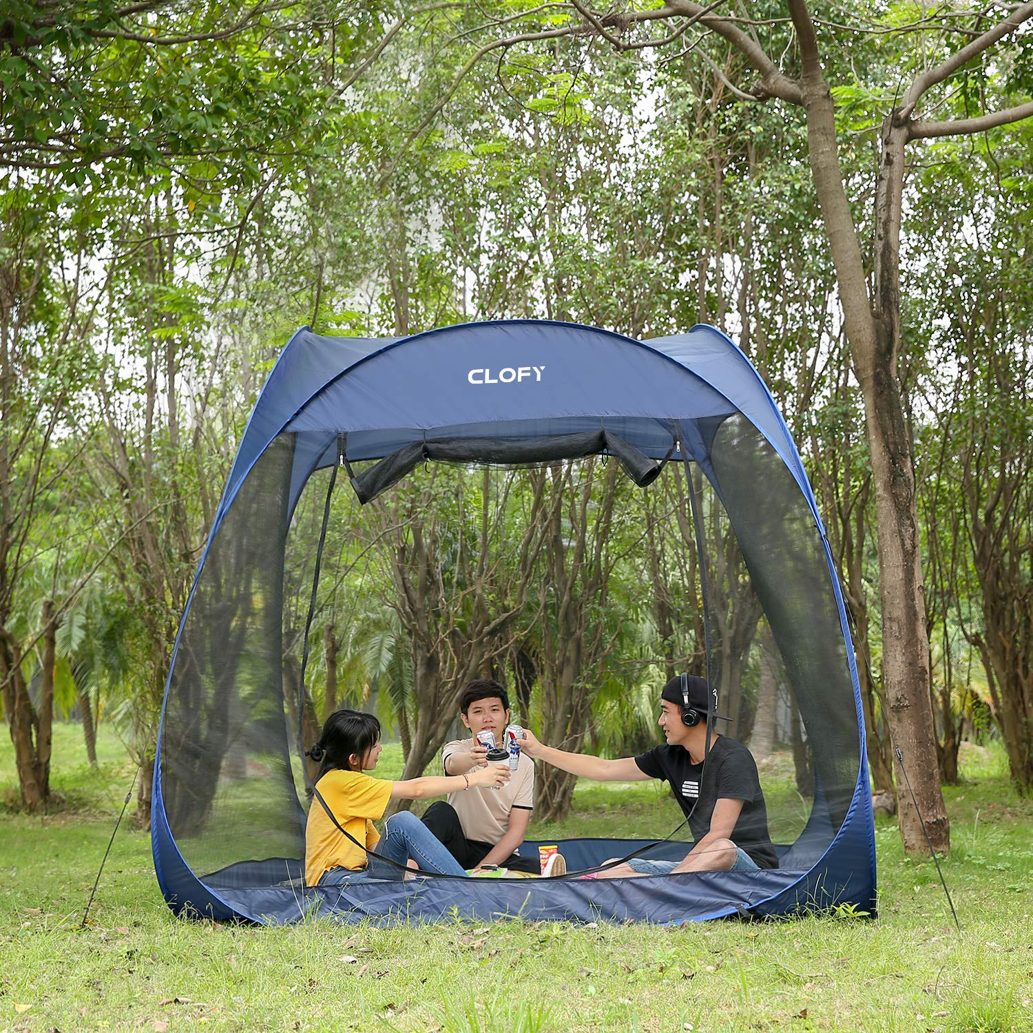 CLOFY Screen Tent with Floor|Easy Pop Up Screen House|Instant Portable Screen House| 360° Screen Room/Canopy Tent for Camping or Family Reunions by CLOFY