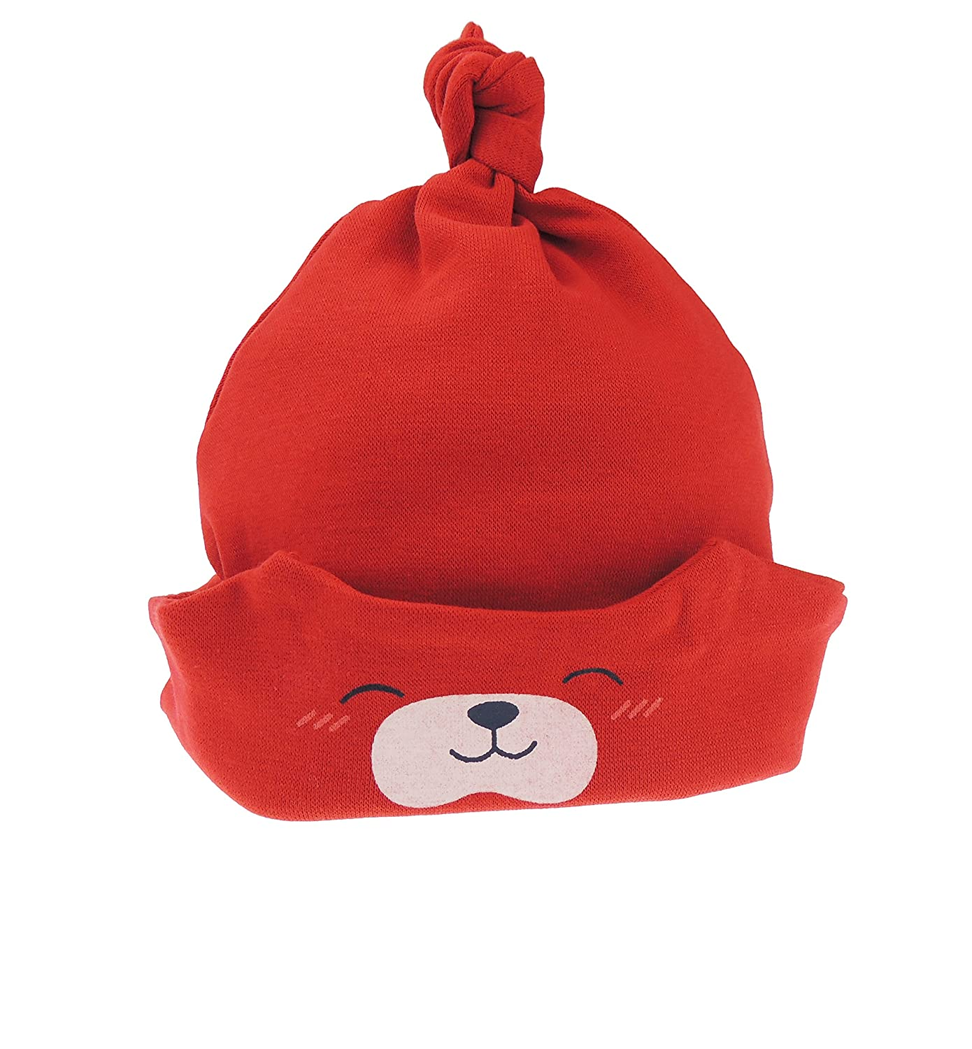 Baby Girls Boys Teddy Bear Sleep Beanie Hat Fold Up Fold Down from New-Born to 24 Months (Red)