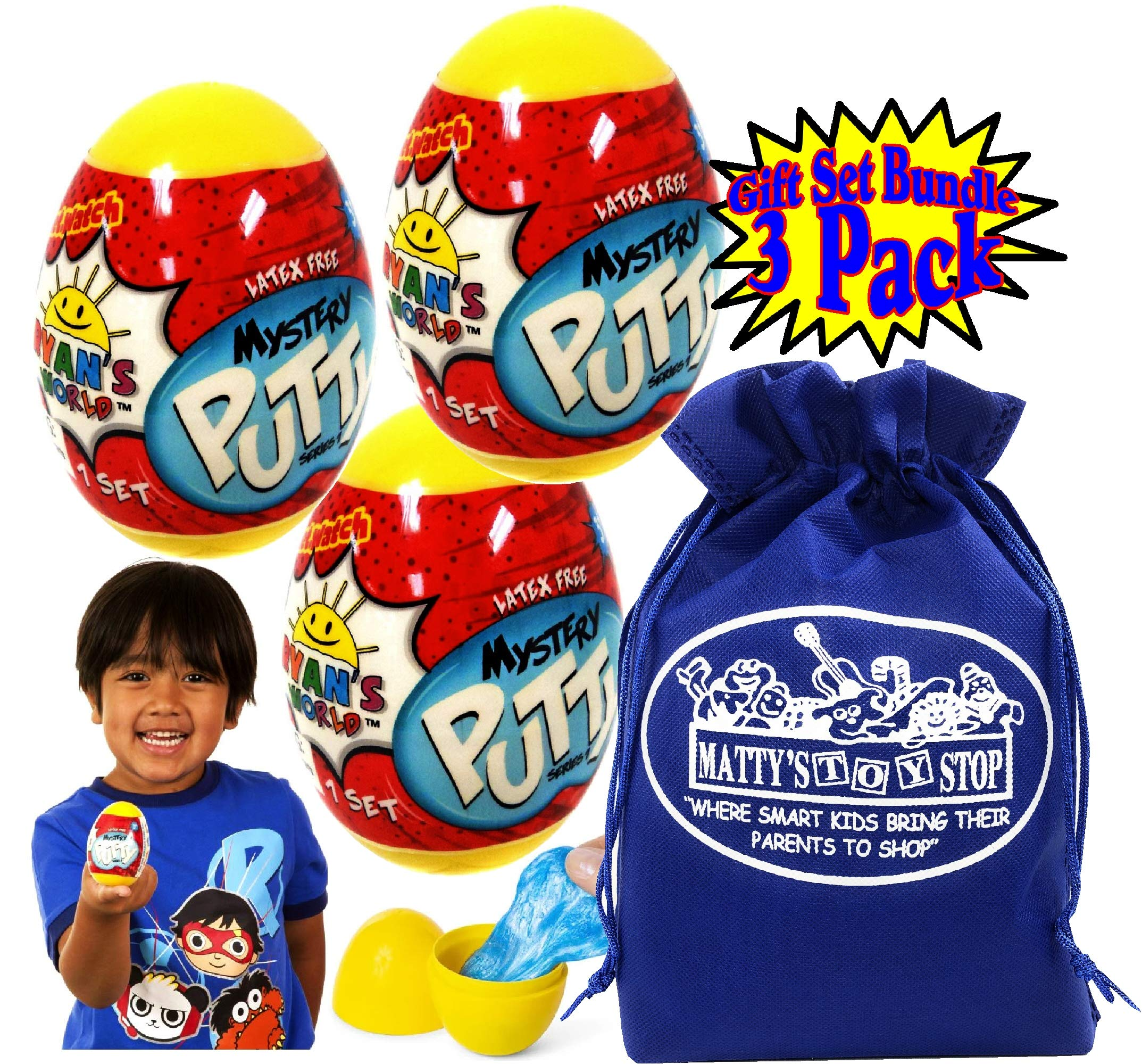 Ryan's World Mystery Putty Plastic Eggs Gift Set Party Bundle with Bonus Matty's Toy Stop Storage Bag - 3 Pack