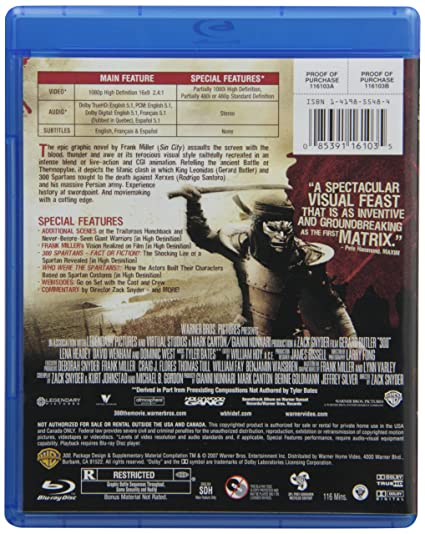 300 [USA] [Blu-ray]: Amazon.es: Wenham, West, Butler, Headey ...
