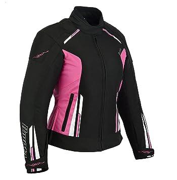 BOSMOTO Damen Textil Motorradjacke Schwarz L