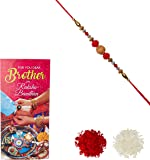 Aheli Wooden & Red Crystal Beads Rakhi for Men with Greeting Card and Roli Chawal Tilak (Red) (RCB06)