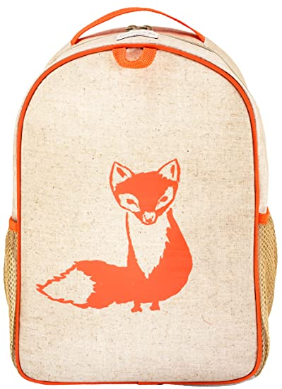 936710562c15 SoYoung Toddler Backpack - Raw Linen, Eco-Friendly, Non-Toxic,  Retro-Inspired Design - Orange Fox