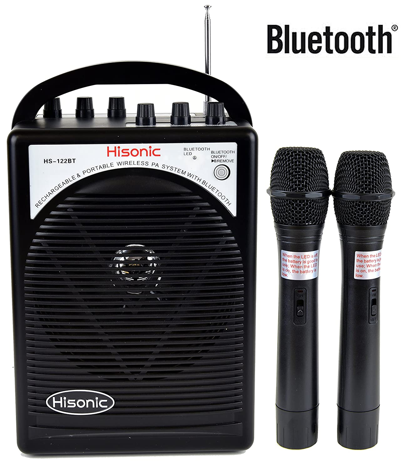 HISONIC HS122BT-HH Portable PA System with Dual Channel Wireless Microphones (Two handheland), Lithium Rechargeable Battery, Bluetooth Streaming Music From your Cell Phones,iPads, Android Pads and Computer, with Car Cable and Carry Bag, Black HS120BT-HH