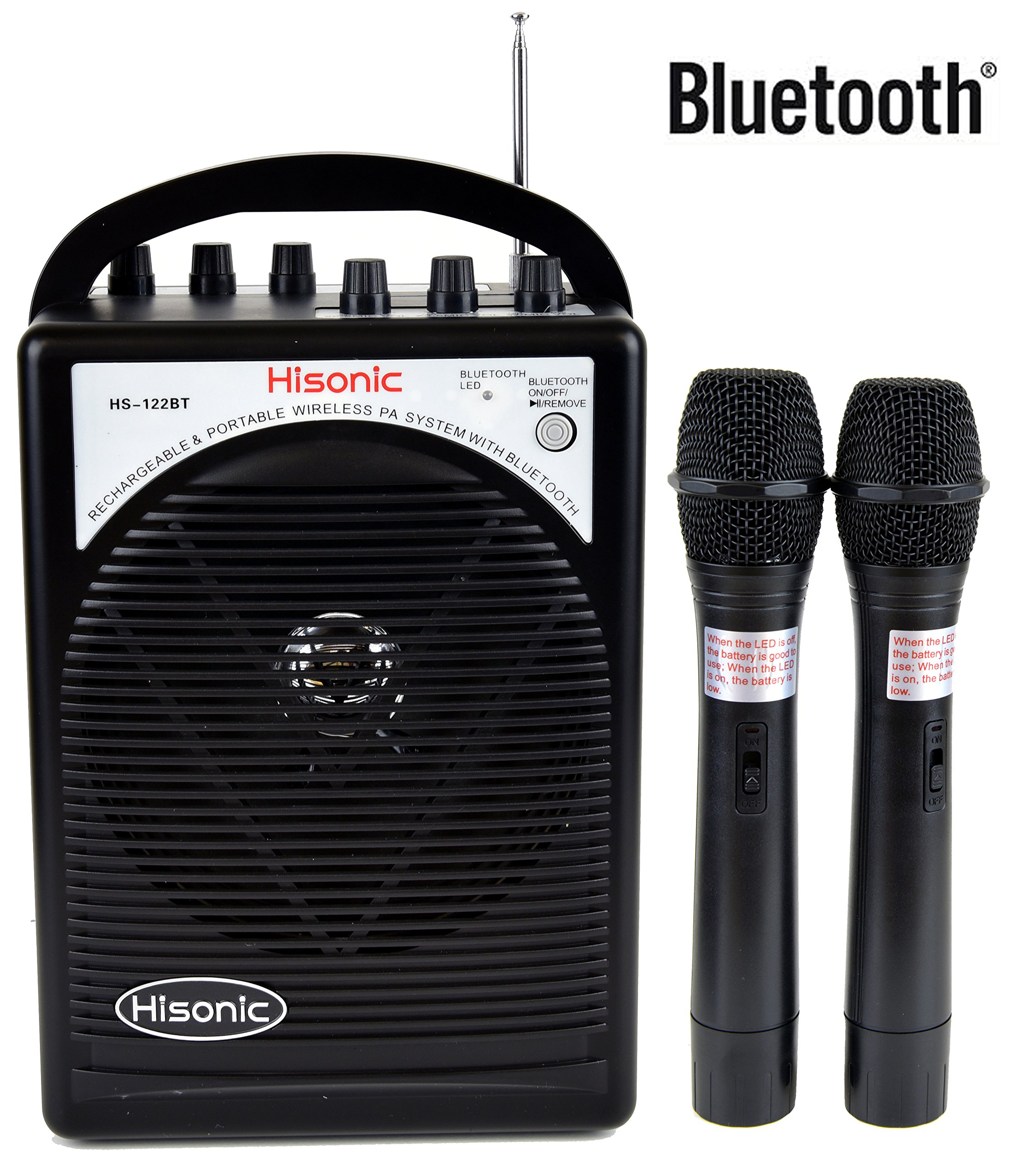 HISONIC HS122BT-HH Portable PA System with Dual Channel Wireless Microphones (Two handheld), Lithium Rechargeable Battery, Bluetooth Streaming Music From your Cell Phones, Black