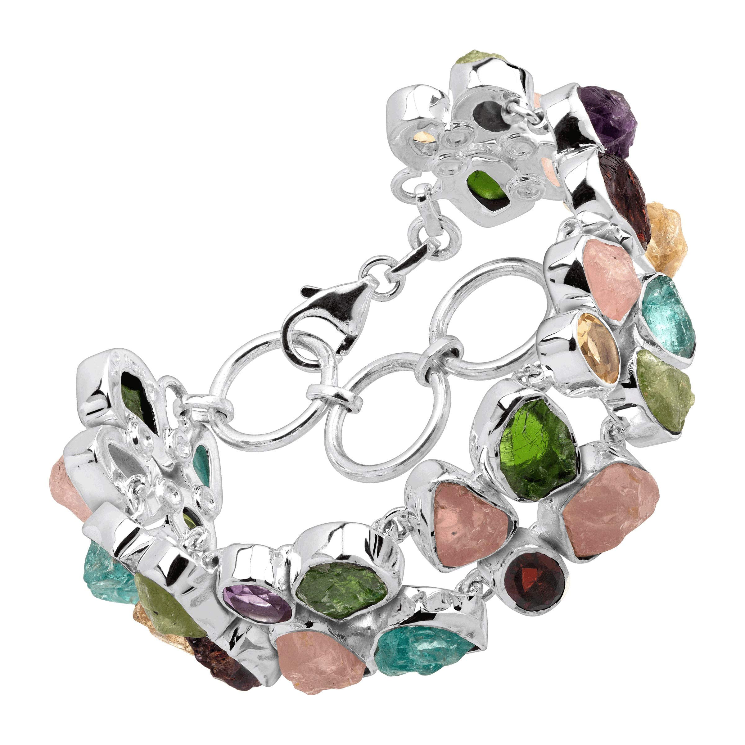 Silpada 'Prismatic' Natural Mixed Stone Link Bracelet in Sterling Silver