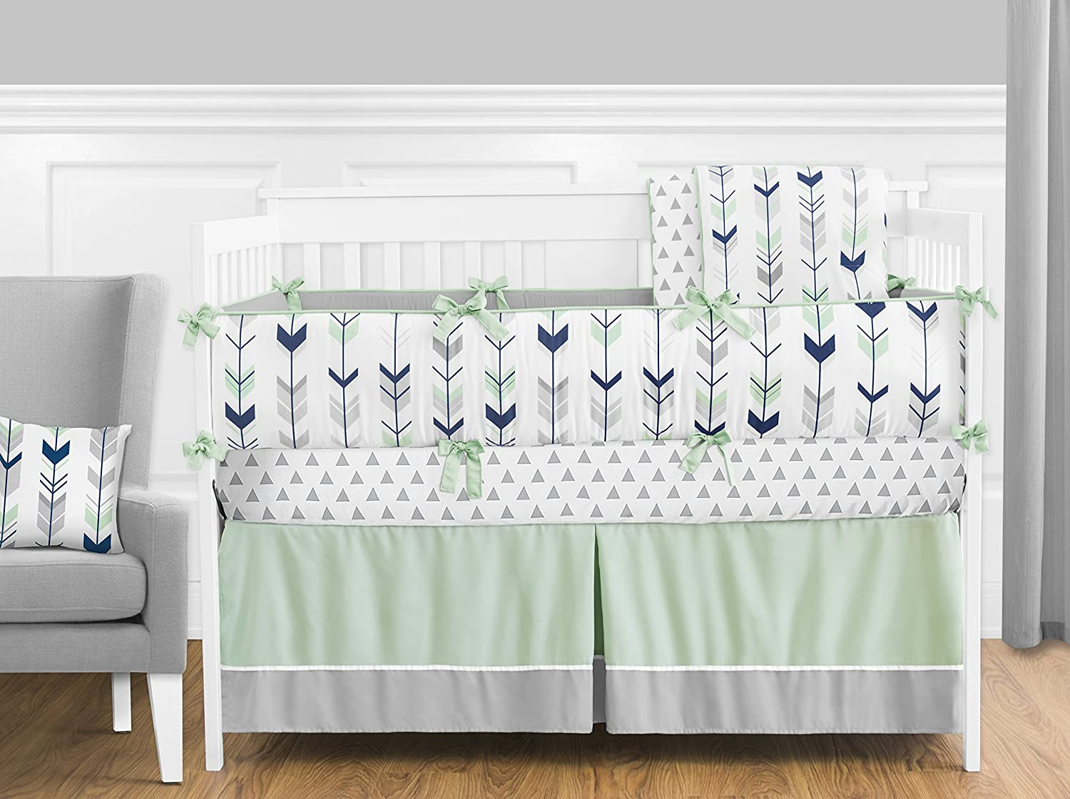 Amazon Sweet Jojo Designs Fitted Crib Sheet For Grey Navy And Mint Woodland Arrow Baby Toddler Bedding Set Collection