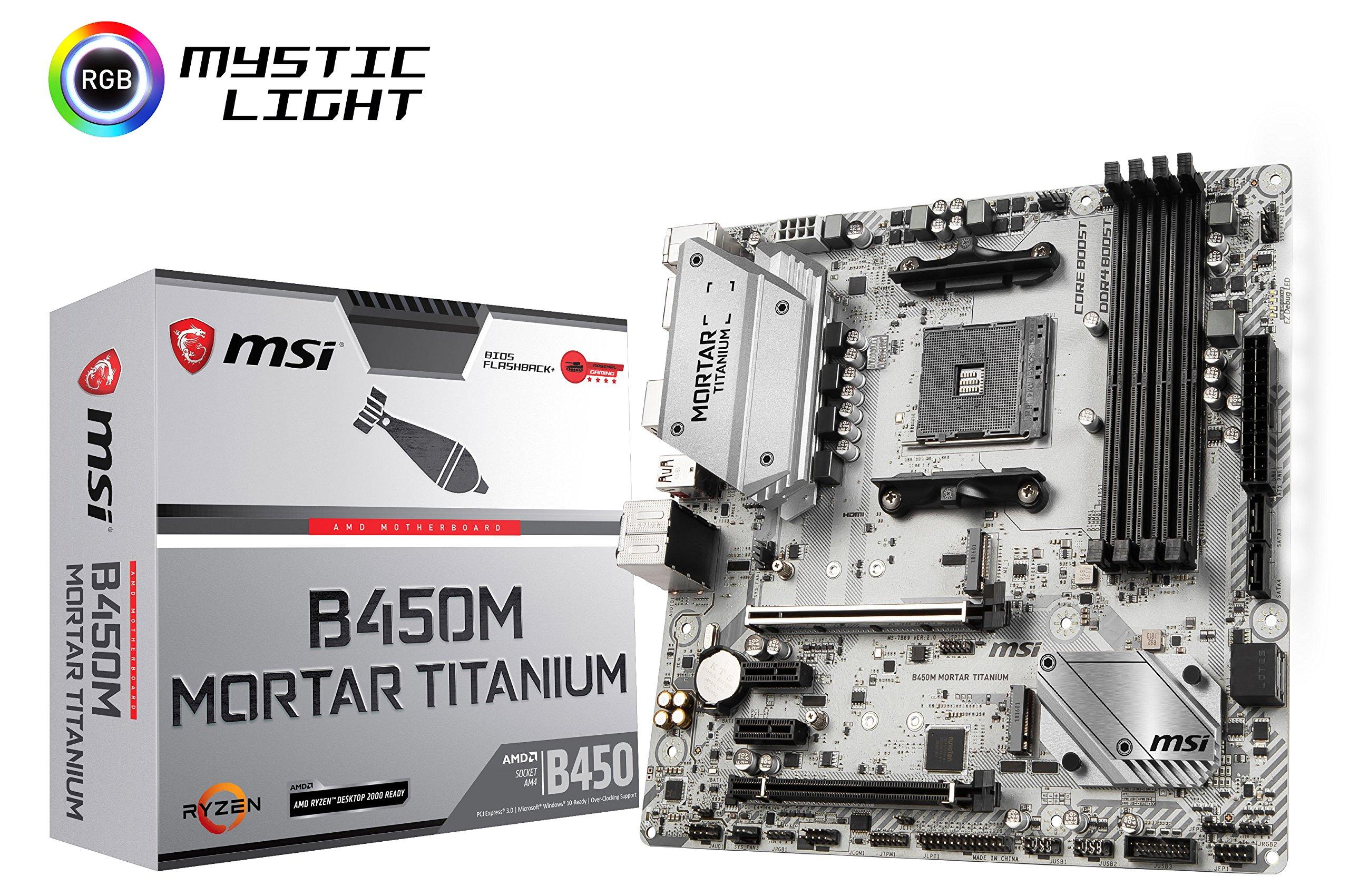 MSI B450M Mortar Titanium Computer Motherboards by MSI