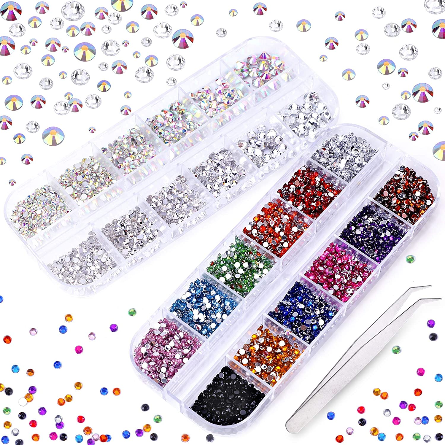 3000+ PCS Rhinestones for Craft, Phogary AB Rhinestones Flat Back 7 Sizes (1.5-5 mm) 13 Colors with Pick Up Tweezer for Crafts Nail Face Art Clothes Shoes Bags Phone Case DIY
